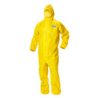09814 A70 XL Chem Suit Yellow w/Hood Elastic Wrist/Ankl 12/C