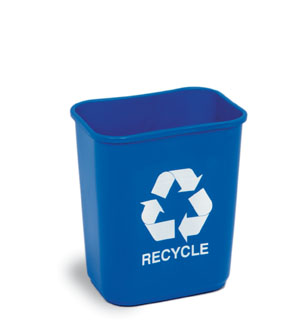 2818-1 Recycle Wastebasket Blue 28 1/8 qt Rectangular