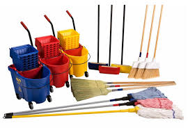 BROOMS, MOPS, DUST PANS, & BRUSHES